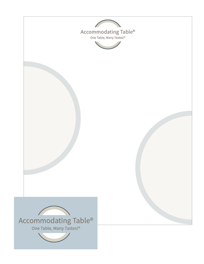 Accommodating Table - logo and letterhead and business card 400w